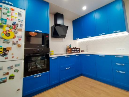 Кухня мдф синяя угловая 98